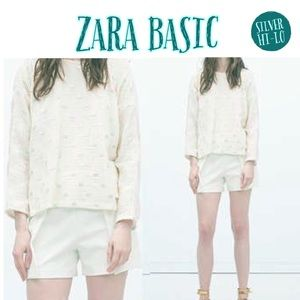 ZARA BASIC COLLECTION Ivory & Silver Square Blouse